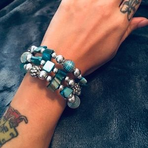 Gorgeous Blue Beaded Wrap-Around Bracelet